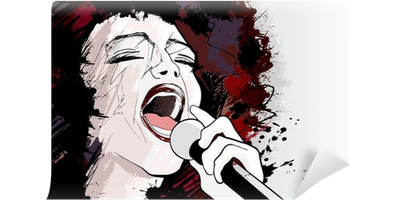 fotobehang-jazz-zangeres-op-grunge-achtergrond